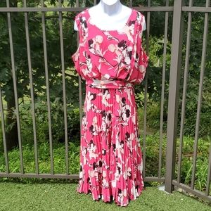 Lane Bryant Pink, Black and White Pleated Dress